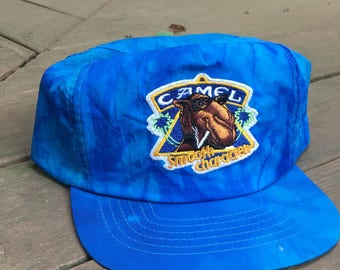 "Vintage Camel Cigarettes ""Joe Camel"" Snapback Hat Blue Patch One Size"