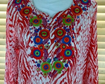 Red and White Embroidered Kaftan Dress