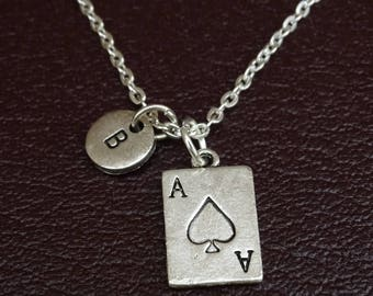 Ace Necklace, Ace Charm, Ace Pendant, Ace Jewelry, Poker Night Necklace, Poker Jewelry, Casino Necklace, Casino Jewelry, Las Vegas Necklace