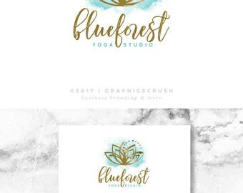 OOAK Lotus Flower Logo Professional Logo Design Watercolor Turquoise Logo Yoga Logo Design Spa Logo