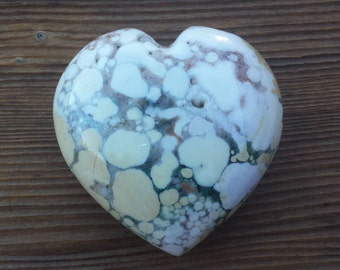Large NATURAL FOSSIL JASPER Gemstone Puffy Heart 60-70mm