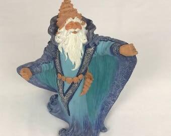 Wizard Figurine, Ceramic Wizard Figure, Quest for the Stones Wizard, Fantasy Wizard, Renaissance Wizard Figure, Medieval Warlock