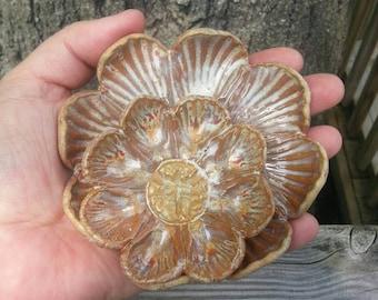 Small Trinket trays, Ring holders, Graduation Gift, Teabag Holder, ring dish, Teaspoon Rest, Handmade Flowers, Ceramic Flowers, Gift for her