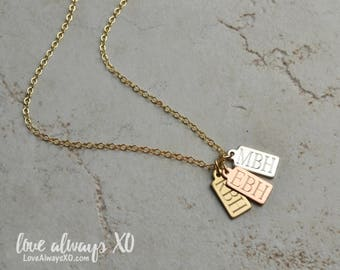 Gold Tag Necklace, new mom gift, Birthday Gift, Wedding date, anniversary date, initial necklace, new baby, new grandma