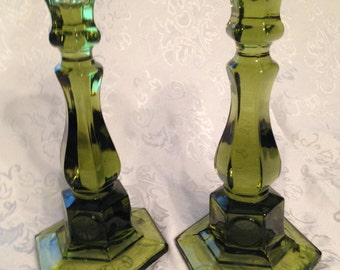Vintage Fostoria Green Glass Candlestick Holders