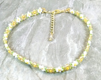 "Gold Daisy Seed Bead Anklet, Beaded Boho Ankle Bracelet, Handmade Jewelry, Garden Wedding, Hippie Wedding, Anklets for Women, 7"" to 11"""