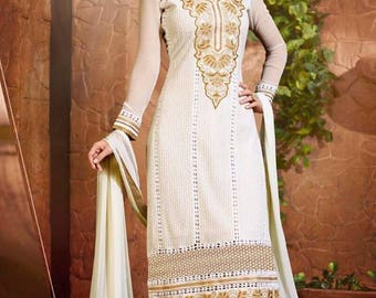 Indian Pakistan Bollywood  Designer Women Ethnic White Colored Cotton Salwar Suit Salwar Kameej Anarkali Dress Women Dress