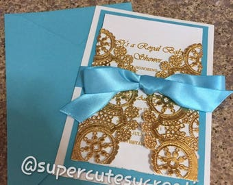 Turquoise and Gold Invitations ******Min Order of 20 Invitations******