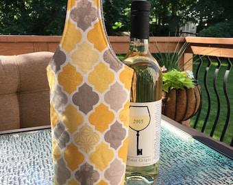 Wine Tote - Wine Bag - Wine Gift Bag - Wine Tote Bag - Yellow Wine Tote - Wine Carrier - Wine Caddy - Wine Holder - Wine Decor - Wine Gift