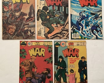 WAR #s 2, 9, 15, 22, 24 Lot of 5 Charlton War Comics Bronze Age 1975-1980 VG-FN+