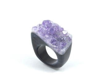 Size 8.75 natural amethyst ring