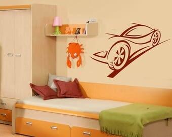 Wall Vinyl Decal Contour Ghost Racing Car Brakes Trail Nursery and Kids room Decor (#2431dn)