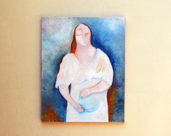 Painting Original oil painting on canvas - Pregnant - 50x40 cm
