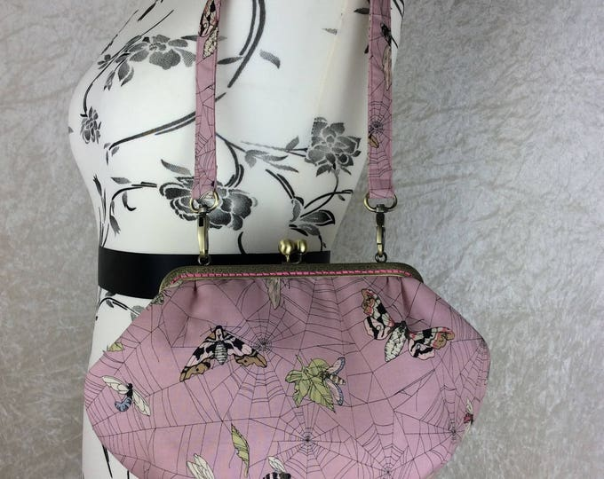 Web Moth gothic Grace frame handbag purse bag clutch fabric Ghastlie Web Alexander Henry handmade in England