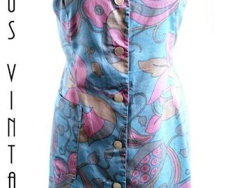 """Plus Size UK 16 Vintage 1960s Psychedelic Shift  Dress Floral Cotton Mad Men Mod  EU 44 US 12 Bust 42"""" 107cm"""