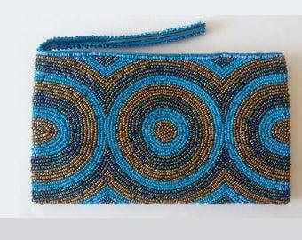 Mexican coin purse, Mexican Clutch, Huichol Purse, Mexican Beaded bag, Huichol beadwork, Mexican Beaded Bag, Huichol bag, Mexican makeup bag