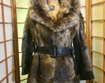 Raccoon, Leather,  and Muskrat Ultra Soft 60's 70's Vintage Fur Coat Size M/L Size 4/6/8