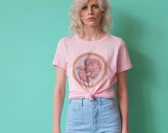 Snake T Shirt, Vintage T Shirt, Women's Vintage tops and Tees, Retro 70s, Ringer Tee, Raglan, 70s T shirt, Pink, Rattlesnake, 60s Retro