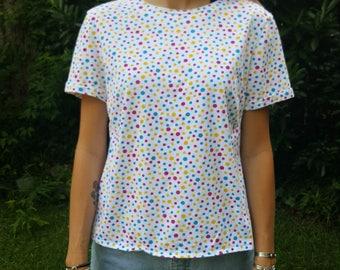 Vintage Polka Dot Shirt T-shirt Tshirt Short Sleeve Primary Colors White Red Blue Yellow