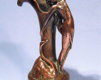 Antique Art Nouveau Lady and Swan Figural Bronzed Metal Vase Pitcher Ewer Early 1900's Decor