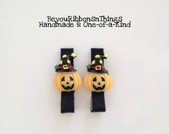 Smiling Pumpkins | Hair Clips for Girls | Toddler Barrette | Kids Hair Accessories | Flatback | No Slip Grip | Halloween