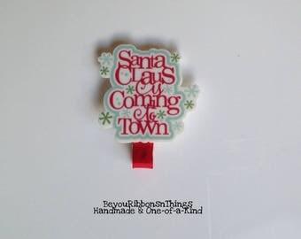 Santa Claus   Planar   Hair Clips for Girls   Toddler Barrette   Kids Hair Accessories   Grosgrain Ribbon   No Slip Grip   Christmas