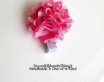Pink ~ White | Chiffon Flower 2"