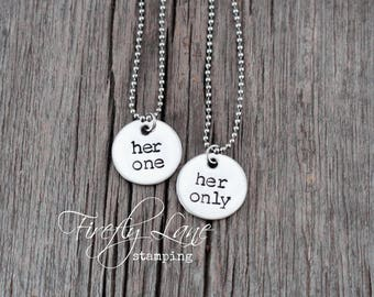 her one her only hand stamped couples necklaces / simple silver discs