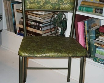 Folding Chair/Cosco Household Products Inc./ 1960s Folding Chair/ Vinyl Avocado Gren