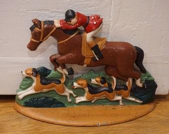 Vintage Hunt Scene Cast Iron Door Stop/ Preppy Decor/ Traditional decor/ Equestrian decor/ Hunt Country/ English/ Virginia Decor/ Fox hounds