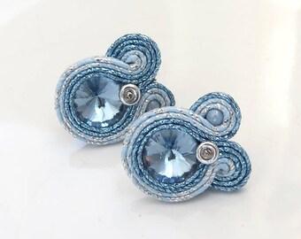 Baby blue earrings, Light blue stud earrings soutache earrings, Light blue earrings minimalist, Pale blue studs, Minimal stud earrings
