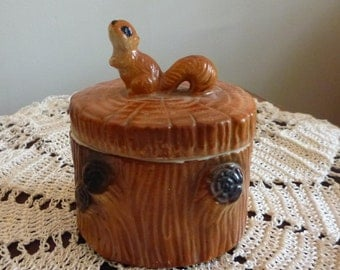 Vintage squirrel on a log sugar bowl