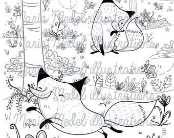 ZORROS en la página de colorear bosque - primavera-adulto/niños