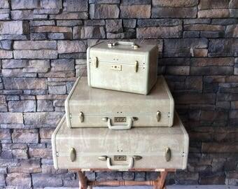 Vintage Samsonite White Marbled Luggage