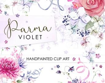 Hand Painted Watercolour Flower Clip art - Parma Violet