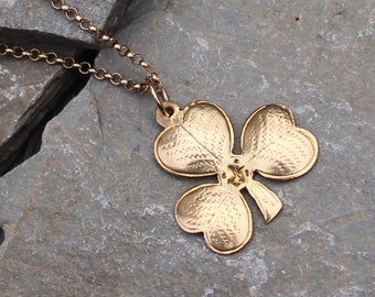 Vintage 1960's 9CT Gold Shamrock Three Leaf Clover Pendant Charm