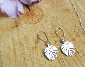 Tropical Leaf Earrings, exotic, summer, foliage, silver, nature, romantic