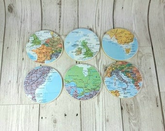 Custom World Map Coasters, Set of Six, Choose 6 of your fav areas! Make perfect Travel Christmas Gifts