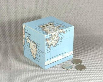 Vintage Map Money Box, Personalised, Mothers Day, Travel Fund, Wanderlust Gift, Map Gift, Piggy Bank, Adventure Fund, Free Gift Wrapping!