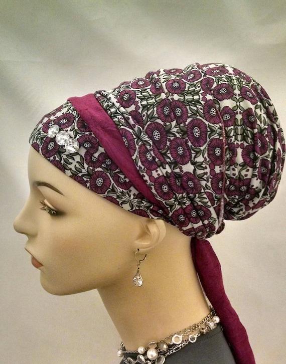 Magenta blossom Sinar tichel, tichels, chemo scarves, head scarf, head wrap