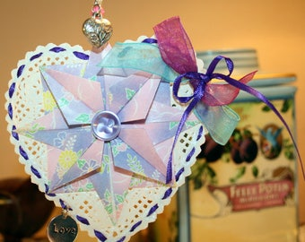 Origami Victorian Lavender Compass Star Heart Paper Lace Hanging Ornament