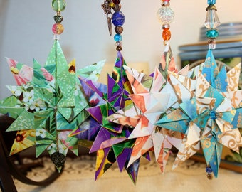 Origami Set Of 4 Seasons Triple Layer Star Hanging Ornaments