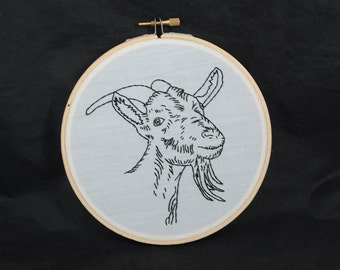Goat Embroidered Hoop Art