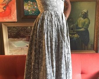 50's Grey Strapless Cotton Dress XS XXS