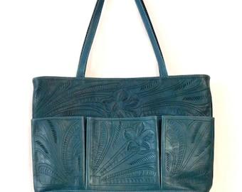 J L Saldivar hand tooled green leather tote
