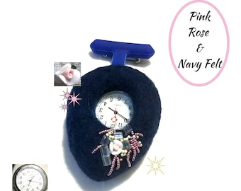Navy Felted  Watch, Beaded Watch Brooch, Felted Watch Brooch, Pink and Navy Beaded Watch Brooch, Cherished Original Gift
