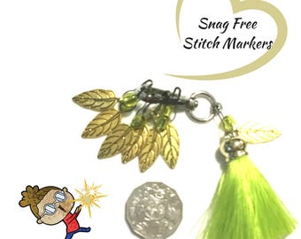 Brass Leaves Stitch Markers, Crochet Markers,  Knitters Gift, Versatile  Key Rings, Bag Charms, Unique Style gift,Knitters Stitch Markers