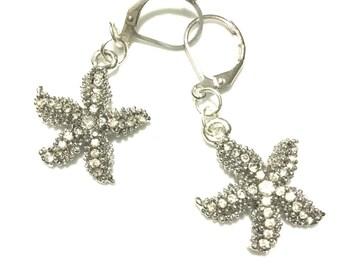 Stunning Platinum Starfish Earrings, rhinestones earrings, Gift for Her, Silver Drop Earrings, On Trend Earrings, Anytime Gift, Stylish Gift