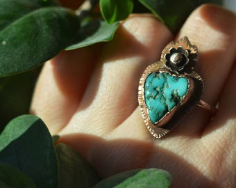 Flaming Heart Turquoise ring, copper, blue boulder turquoise, natural, blue, raw, sacred heart, milagros, large, flower, concho