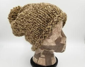Slouchy Beanie, Rolled Brim Beanie, Pom Pom Beanie, Bobble Hat, Hand Knit Beanie, Hat for Women, Slouch Hat, Brown Beanie, Winter Cap